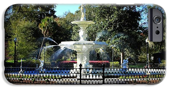 Springtime In The Park iPhone Cases - Forsyth Park Fountain in Springtime iPhone Case by Carol Groenen