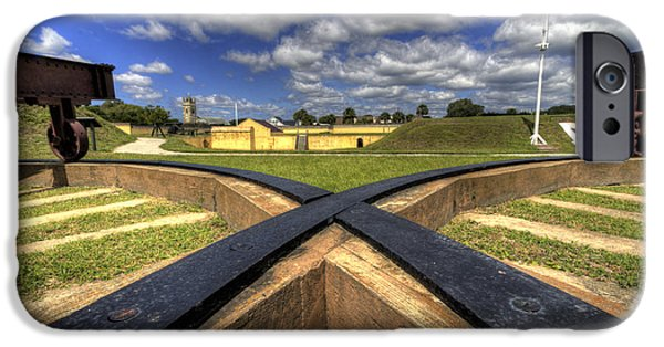Battery iPhone Cases - Fort Moultrie Cannon Tracks iPhone Case by Dustin K Ryan
