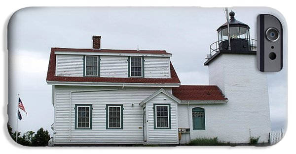 Historic Site iPhone Cases - Fort Point Lighthouse 2 iPhone Case by Cindy Kellogg