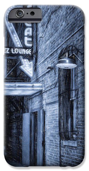Night Lamp iPhone Cases - Fort Worth Impressions Scat Lounge BW iPhone Case by Joan Carroll