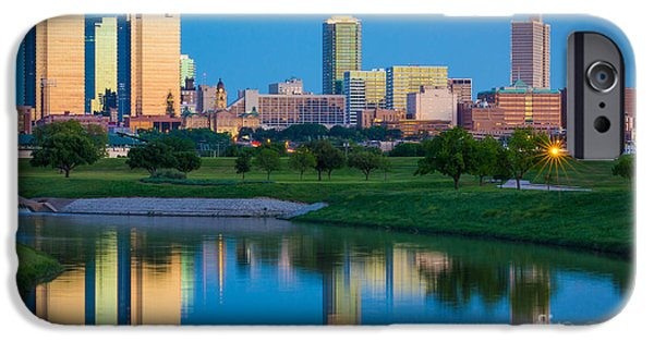 Glass Reflecting iPhone Cases - Fort Worth Mirror iPhone Case by Inge Johnsson