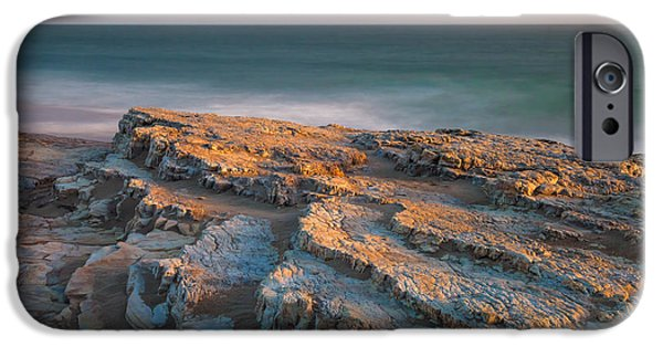 Ocean Sunset iPhone Cases - Fossilized Waves iPhone Case by Jonathan Nguyen