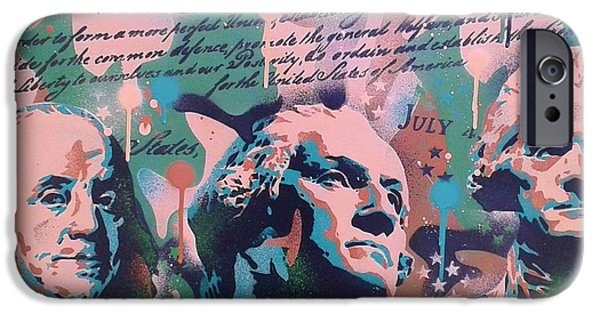 4th July Paintings iPhone Cases - Founding Fathers iPhone Case by Leon Keay