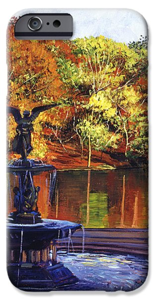 Autumn iPhone Cases - Fountain Central Park iPhone Case by David Lloyd Glover