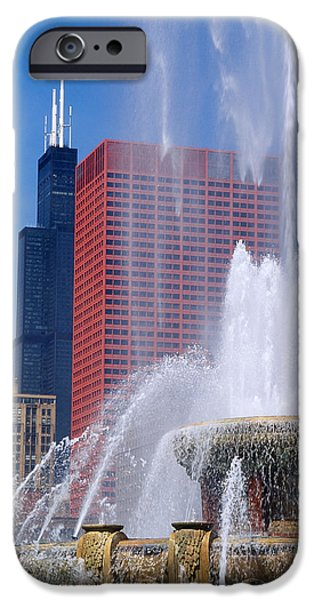 Sears Tower iPhone Cases - Fountain In A City, Buckingham iPhone Case by Panoramic Images