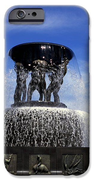 Norway iPhone Cases - Fountain of six giants holding a great bowl Vigelandsparken Oslo Norway iPhone Case by Michael Walters