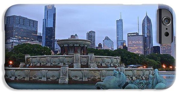 Chicago Cubs iPhone Cases - Fountain Panoramic View iPhone Case by Frozen in Time Fine Art Photography