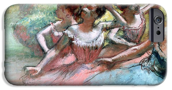 Lady Pastels iPhone Cases - Four ballerinas on the stage iPhone Case by Edgar Degas