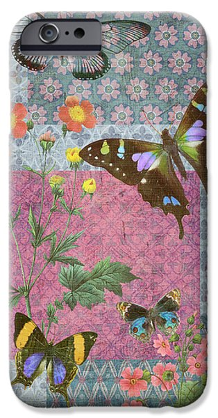 Plant iPhone Cases - Four Butterfly Patch Blue iPhone Case by JQ Licensing