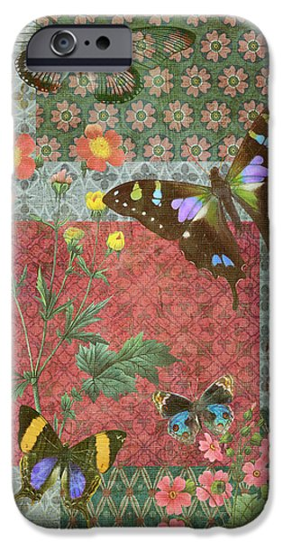Butterflies Paintings iPhone Cases - Four Butterfly Patch Green iPhone Case by JQ Licensing