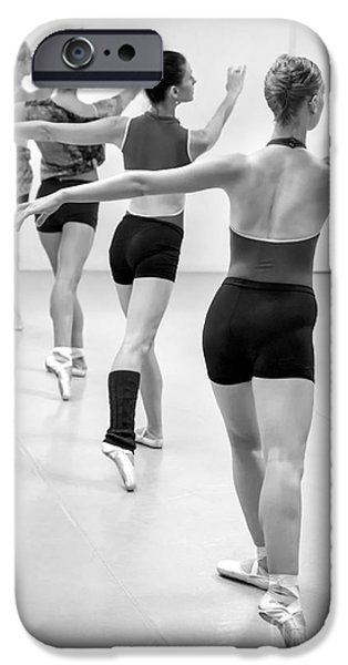 Ballet Dancers iPhone Cases - Four female dancers during a ballet rehearsal iPhone Case by Julia Hiebaum