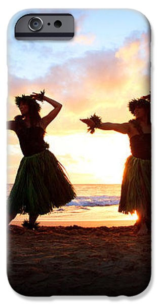 Four Hula Dancers At Sunset iPhone Case by David Olsen