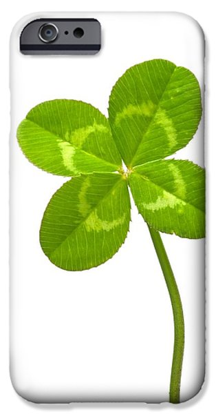Cut-outs iPhone Cases - Four-leaf Clover iPhone Case by David Nunuk
