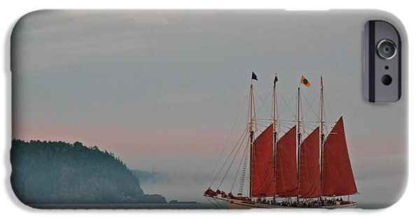 Tall Ship iPhone Cases - Four-Masted Schooner The Margaret Todd iPhone Case by Juergen Roth
