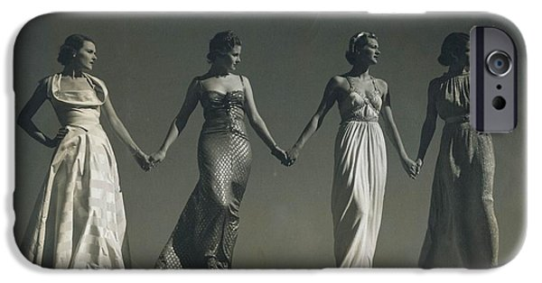 Ball Gown Photographs iPhone Cases - Four Models Standing, Holding Hands iPhone Case by Conde Nast