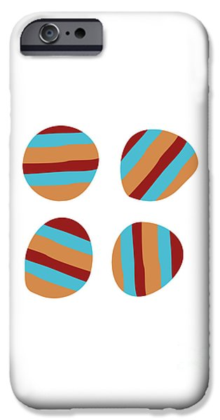 Stripes iPhone Cases - Four Striped Circles  iPhone Case by Roxanne  Handelong