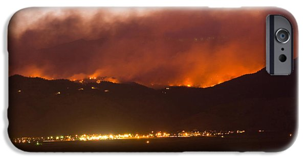 Wildfire iPhone Cases - Fourmile Canyon Fire Burning Above North Boulder iPhone Case by James BO  Insogna