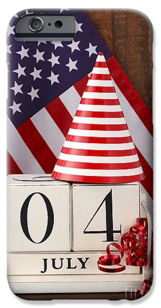 Independance Day iPhone Cases - Fourth of July vintage wood calendar with flag background.  iPhone Case by Milleflore Images