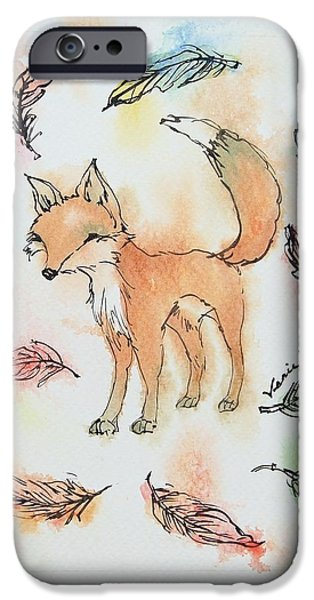 Red Fox iPhone Cases - Fox and feathers iPhone Case by Venie Tee