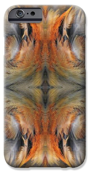 Rust Tapestries - Textiles iPhone Cases - Fox Feathers iPhone Case by Elizabeth Cope May