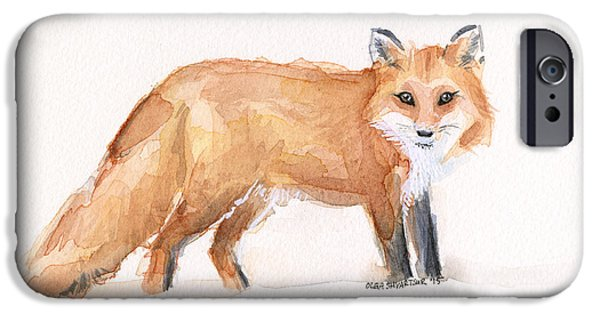 Furry iPhone Cases - Fox Watercolor iPhone Case by Olga Shvartsur