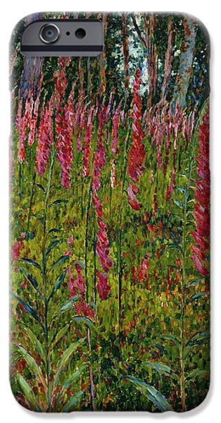 Petals iPhone Cases - Foxgloves iPhone Case by Georges Lacombe