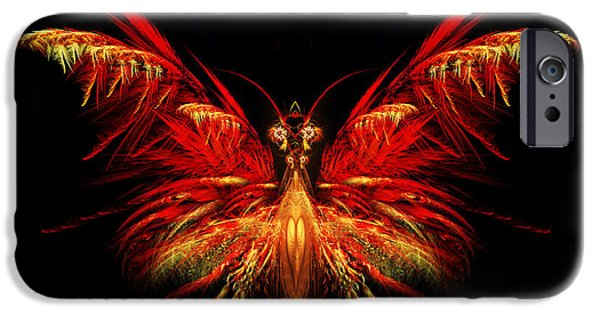 Flame Fractal iPhone Cases - Fractal Butterfly iPhone Case by John Edwards