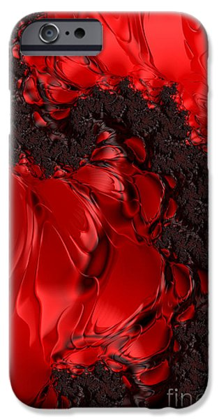 Red Abstract iPhone Cases - Fractal Dragon iPhone Case by Ann Garrett