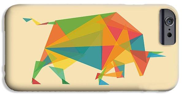 Geometric Animal iPhone Cases - Fractal Geometric Bull iPhone Case by Budi Kwan