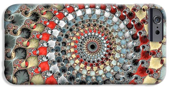 Floral Digital Art Digital Art iPhone Cases - Fractal spiral red grey light blue square format iPhone Case by Matthias Hauser