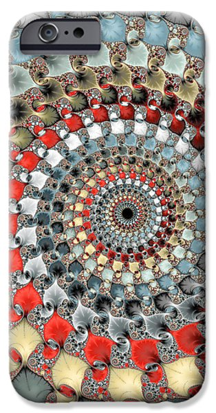 Floral Digital Art Digital Art iPhone Cases - Fractal spiral red grey light blue square format iPhone Case by Matthias Hauser