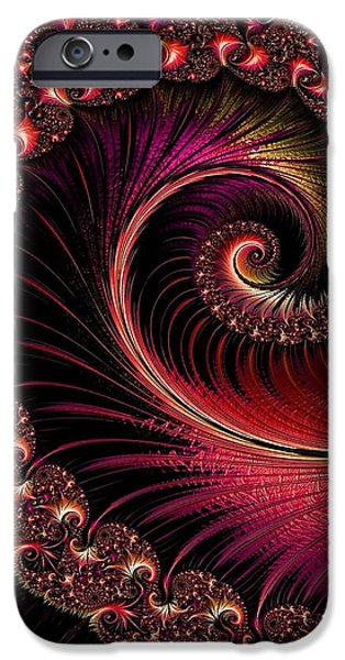 Abstract Digital Pastels iPhone Cases - Fractalia Irmania Catus 1 no. 3 V b iPhone Case by Gert J Rheeders