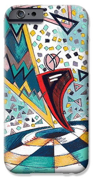 Colored Pencil Abstract iPhone Cases - Fractionated City Scape iPhone Case by Genevieve Esson