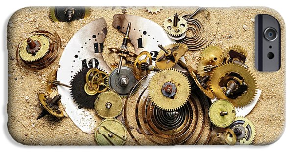 Watch Parts iPhone Cases - Fragmented Clockwork In The Sand iPhone Case by Michal Boubin