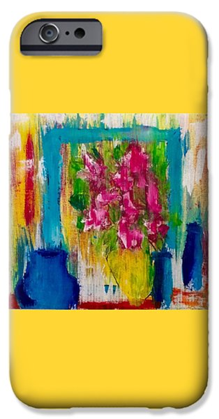 """indoor"" Still Life Paintings iPhone Cases - Framing petals iPhone Case by Eve Schambach"