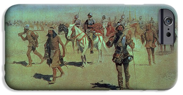 The North iPhone Cases - Francisco Vasquez de Coronado Making his Way Across New Mexico iPhone Case by Frederic Remington