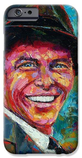 Frank Sinatra Paintings iPhone Cases - Frank Sinatra iPhone Case by Debra Hurd