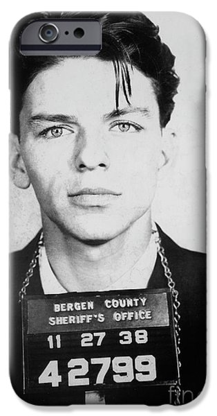 Old Blue Eyes iPhone Cases - Frank Sinatra Mugshot iPhone Case by Jon Neidert