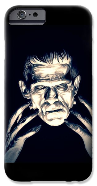 Electricity Drawings iPhone Cases - Frankenstein iPhone Case by Fred Larucci