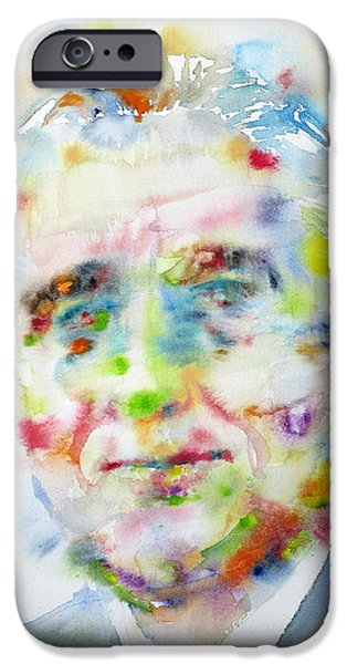 Franklin Paintings iPhone Cases - FRANKLIN D. ROOSEVELT - watercolor portrait iPhone Case by Fabrizio Cassetta