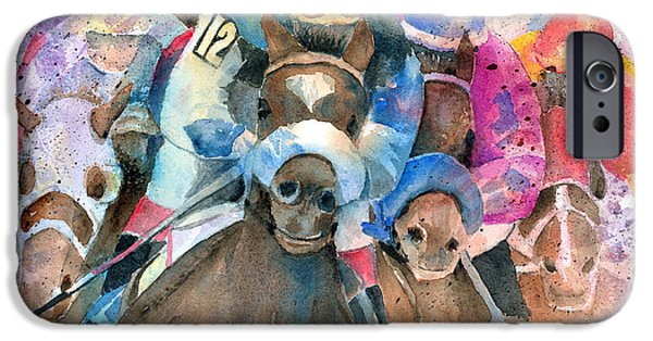 Race Horse Paintings iPhone Cases - Frantic Finish iPhone Case by Arline Wagner