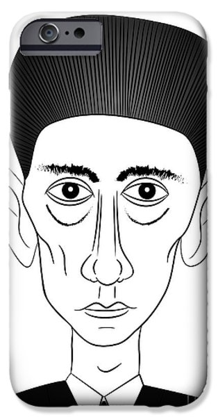 Artistic Portraiture iPhone Cases - Franz Kafka iPhone Case by Michal Boubin