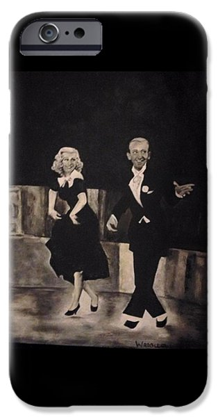 Ginger Rogers Paintings iPhone Cases - Fred and Ginger iPhone Case by Jennifer Wrobleski