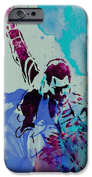 Watercolors Paintings iPhone Cases - Freddie Mercury iPhone Case by Naxart Studio