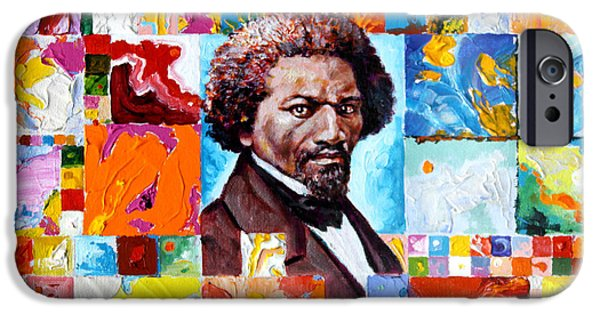 Slave Paintings iPhone Cases - Frederick Douglass iPhone Case by John Lautermilch
