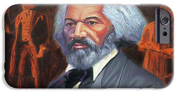 Slave Paintings iPhone Cases - Frederick Douglass iPhone Case by Steve Simon