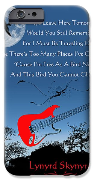 Rock And Roll Digital Art iPhone Cases - Free Bird iPhone Case by Michael Damiani