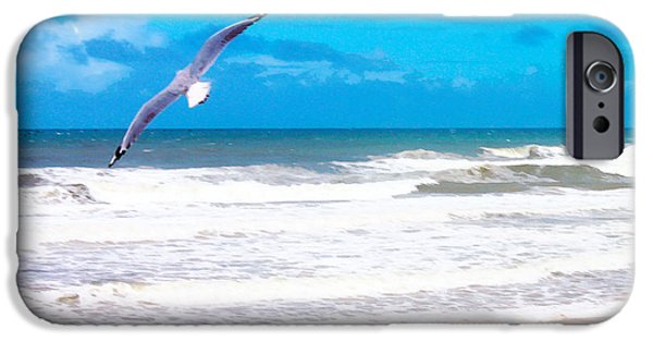 Flying Seagull Pyrography iPhone Cases - Free Bird iPhone Case by Susan Vineyard