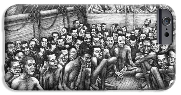 African-american Drawings iPhone Cases - Freed Slave Ship iPhone Case by Granger