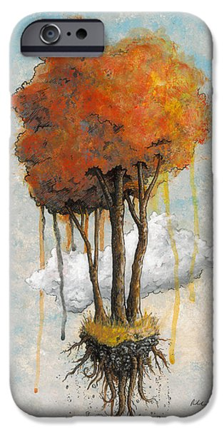 Tree Roots Paintings iPhone Cases - Freedom iPhone Case by Richardson Comly
